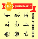 Fishing guality icons set Royalty Free Stock Photography