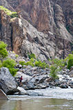 Fishing Gunnison river in the Black Canyon Royalty Free Stock Photos