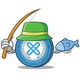 Fishing Gxshares coin mascot cartoon. Vector illustration Royalty Free Stock Photography