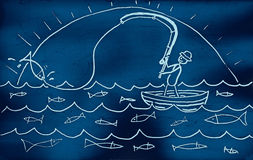Fishing. Hand drawn with felt pen on aged paper Stock Images