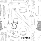 Fishing hand drawn pattern Royalty Free Stock Photography