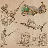 Fishing - An hand drawn vector pack Royalty Free Stock Photography