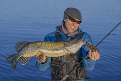 Fishing. Happy fisherman with big pike fish. Trophy Royalty Free Stock Images
