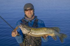 Fishing. Happy fisherman with big pike fish. Trophy Royalty Free Stock Photos