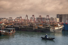 Fishing harbor of Beihai at sunset,China Stock Images