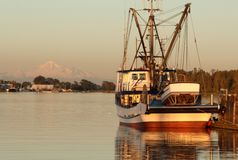 Fishing Harbor Evening stock photos