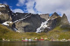 Fishing harbor in fjord Royalty Free Stock Images