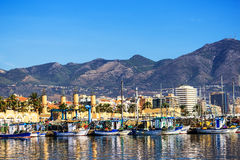 Fishing harbor of Fuengirola, holiday resort near Malaga, Southern Spain Royalty Free Stock Photography