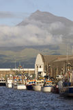 Fishing harbor in Horta. Faial island. Pico peak. Azores. Portug Royalty Free Stock Photo