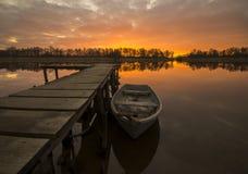 Fishing harbor. Poland,sunset over Odra river Royalty Free Stock Photos
