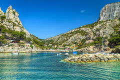 Fishing harbor with rocky bay near Marseilles, Cassis, France, Europe Stock Photo