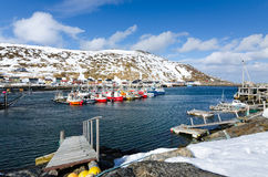 Fishing harbor in Skarsvag Royalty Free Stock Photos