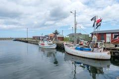 Fishing harbor in Sweden. Bläsinge, Sweden - July 12, 2017: Bläsinge harbor on the east coast of Swedish Baltic sea island Öland. Öland is a popular tourist Stock Image