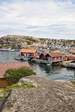 Fishing harbour. Hunnebostrand a small fishing village in Bohuslan Sweden royalty free stock image