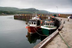 Fishing Harbour. A small Scottish harbour with fishing boats royalty free stock images