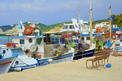 Fishing harbour in Agios Stefanos, Corfu Greece. Fishing harbour in Corfu, Greece royalty free stock images