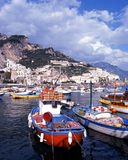 Fishing harbour, Amalfi, Italy. Traditional fishing boats in the harbour, Amalfi, Amalfi Coast, Campania, Italy, Europe Stock Photo