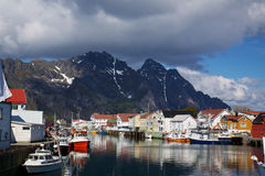 Fishing harbour in Henningsvaer Stock Photography