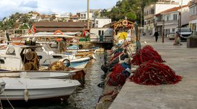 Fishing harbour of the rural touristic town of Karaburun, Izmir. Turkey. Nets and boats. Fishing harbour of the rural touristic town of Karaburun, Izmir. Nets stock image