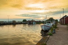 Fishing harbour, Sweden Stock Images