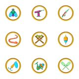 Fishing hobby icon set, cartoon style Stock Image