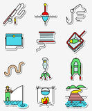 Fishing hobby icons set in line art thin and simply colorful sty. Le. Collection of minimalistic signs with fisherman with rod, tacle, fish, worm, landscape with Royalty Free Stock Images