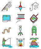 Fishing hobby line art thin and simply colorful icons set. Collection of minimalistic signs with fisherman with rod, tacle, fish, worm, landscape with lake and Stock Images