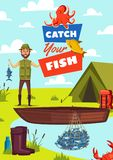 Catch fish vector poster with fisherman and boat. Fishing hobby poster with catch fish sign. Fisherman near tent and wooden boat in lake, rubber boots and net Royalty Free Stock Photography