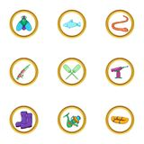 Fishing holiday icon set, cartoon style Royalty Free Stock Photo