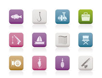 Fishing and holiday icons. Icon set Stock Image