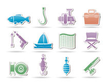 Fishing and holiday icons Royalty Free Stock Images