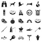 Fishing holidays icons set, simple style. Fishing holidays icons set. Simple set of 25 fishing holidays vector icons for web isolated on white background Royalty Free Stock Photos
