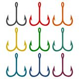 Fishing Hook, Barbed fish hook vector icons set. Vector icon Royalty Free Stock Images