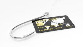 Fishing hook and credit card Stock Images