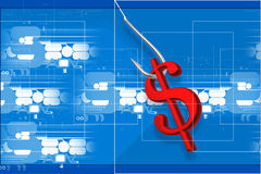 Fishing hook and dollar sign Royalty Free Stock Photography