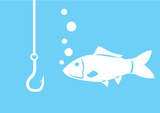 Fishing hook with fish. Isolated on white background. Vector illustration Stock Photo