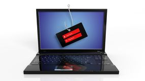 Fishing hook on laptop screen with username and password tag Royalty Free Stock Photo