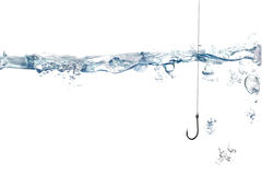 Fishing hook and line under water. Fishing hook and line under clean water Royalty Free Stock Photo