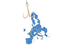 Fishing hook with map of EU, 3D rendering Royalty Free Stock Image
