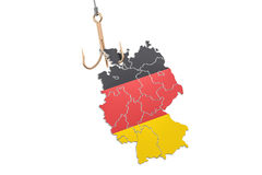 Fishing hook with map of Germany, 3D rendering Stock Photo