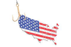 Fishing hook with map of USA, 3D rendering Stock Images