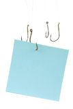 Fishing Hook and Notepaper stock image