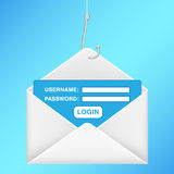 Fishing hook phishing email username password login Royalty Free Stock Photography