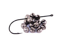 Fishing hook and sinkers - isolated. Fishing Sinkers and hook isolated on White Background Royalty Free Stock Image