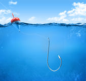 Fishing hook underwater Royalty Free Stock Images