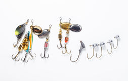 Fishing hooks with bait Royalty Free Stock Photography