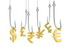 Fishing hooks with symbols of dollar, euro, pound sterling, fran Royalty Free Stock Photography
