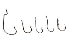 Fishing hooks on white Royalty Free Stock Photography