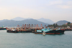 Fishing and house boats anchored in Cheung Chau harbour. Hong Kong royalty free stock photos
