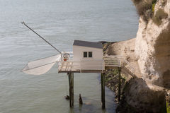 Fishing house on the french coast Stock Photo
